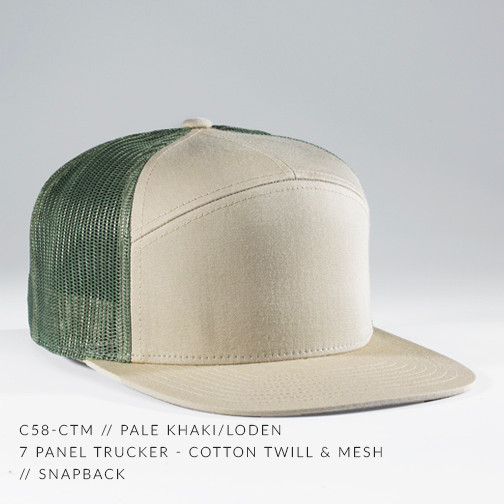 7 PANEL TRUCKER HAT TAN/ ARMY