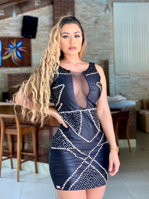 Vestido Bordado Desenho Bicolor Luxo