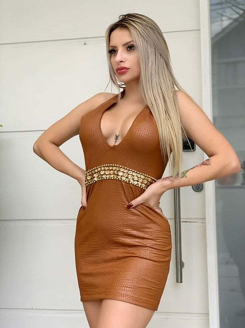 Vestido Courino Detalhe Bordado