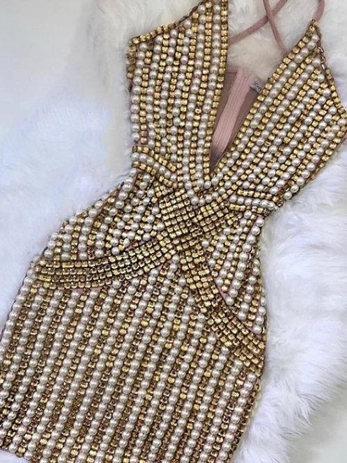 Vestido Bordado Bicolor Glamour Dourado