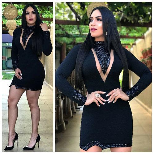Vestido Bordado Maxi Colar Punho Bordado Negro