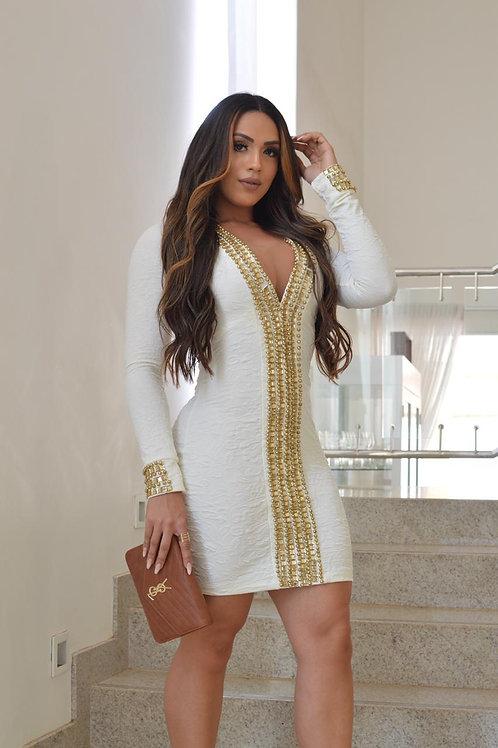 Vestido Bordado Frontal Dourado