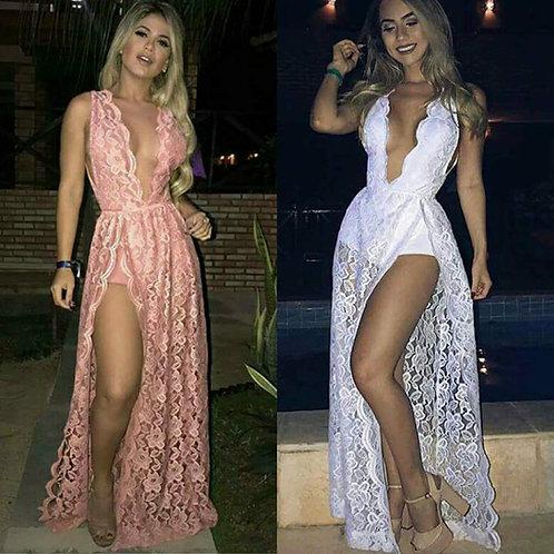 Vestido Longo Renda Bordas Desenho Fenda Frontal