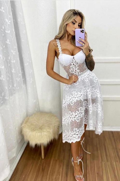 Vestido Renda Midi