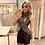 Thumbnail: Vestido Bordado Frontal Desenho Prata Fenda Cintura