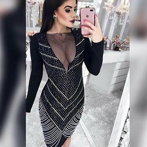Vestido Bordado Bicolor Glamour Franjas Presas