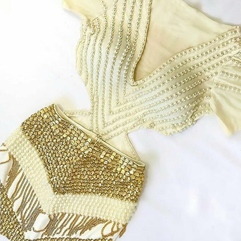 Vestido Conjuto Bordado Saia Dourada Franjas