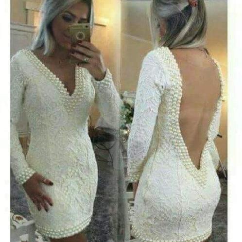 Vestido Renda Manga Longa Bordado Pérolas
