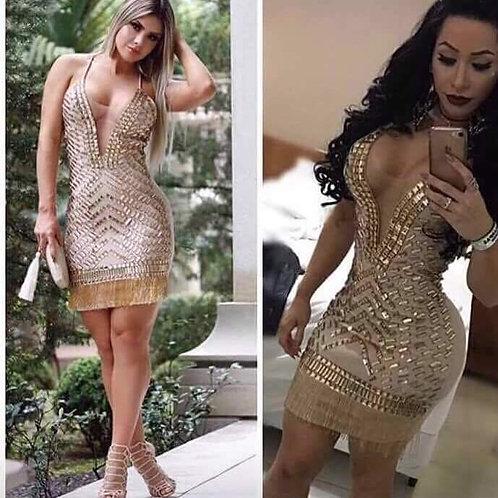 Vestido Pedraria Dominó