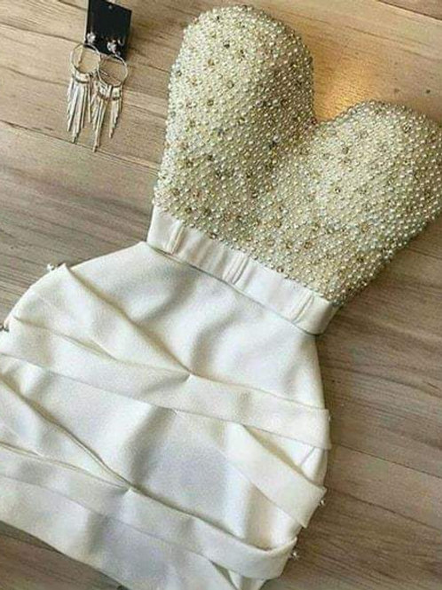 Vestido Conjuto Top Cropped Bordado Pérolas Brilho X Saia