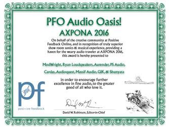 Positive Feedback Audio Oasis! Award for AXPONA 2016
