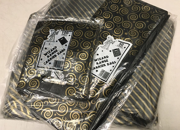 Glossy Black and Gold Gift Carrier Bags