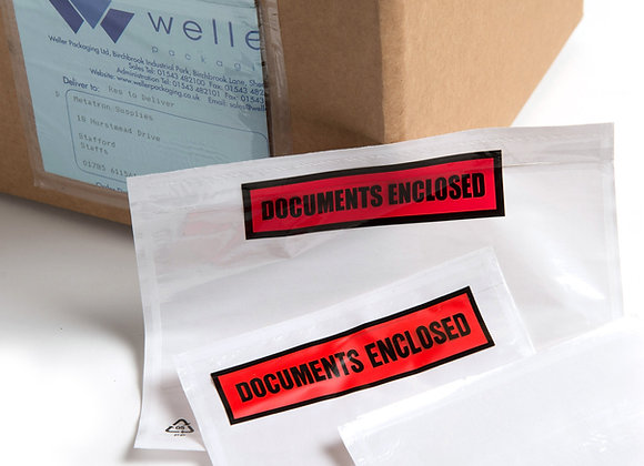 'Documents Enclosed' Postal Clear front Pouches