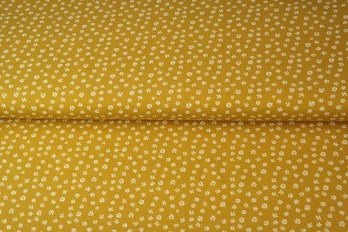 Popeline coton petites fleurs - Moutarde
