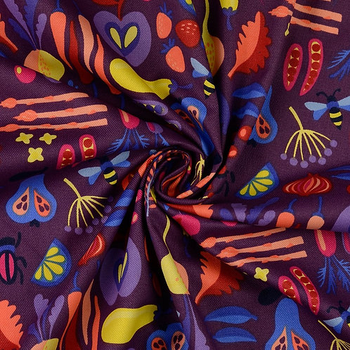 Tissu coton enduit - fruits et légumes
