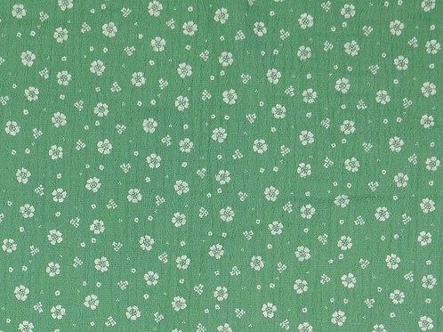 Double Gaze coton petites fleurs - Vert