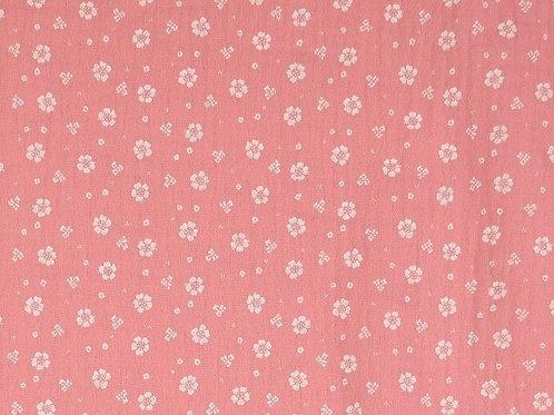 Double Gaze coton petites fleurs - Rose