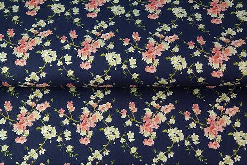Popeline coton fleurs - impression DIGITALE