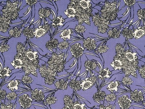 Viscose fleurs - blanc / lilas