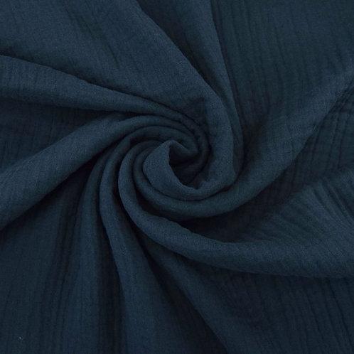 Double Gaze coton  -Bleu Marine