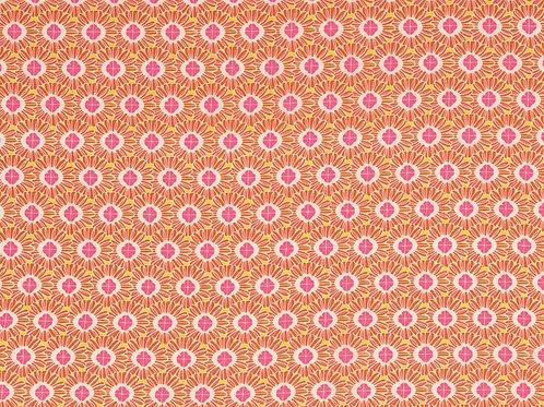 Viscose fleurs rondes - orange / rose