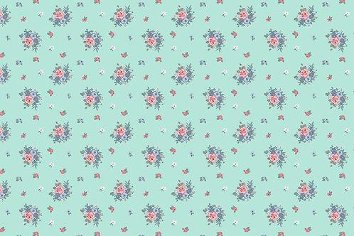 Popeline coton fleurs Vert