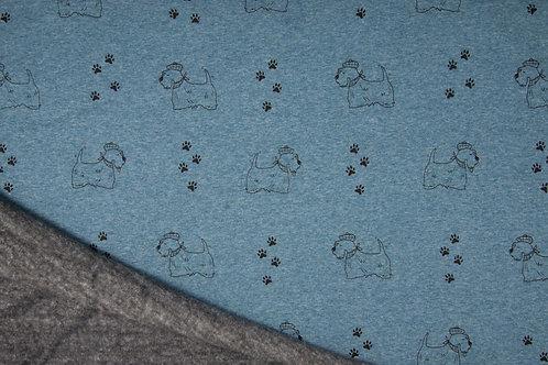 Sweat Minky chiens - Bleu