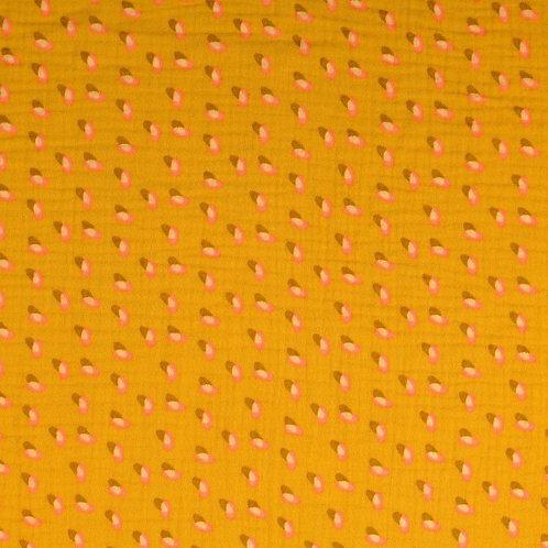 Double Gaze coton soucoupes - Moutarde