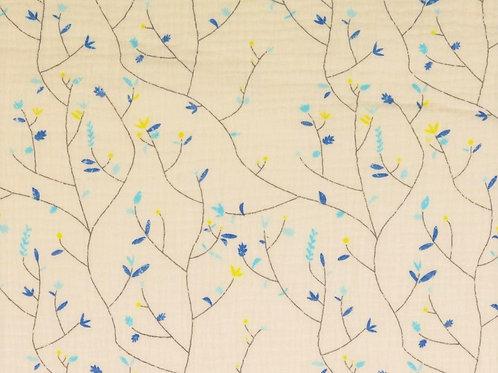 Double Gaze coton branches fleurs - Bleu