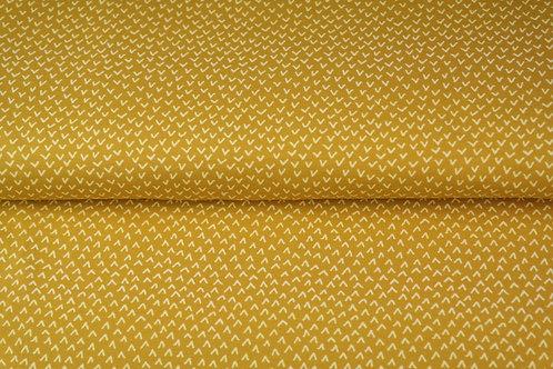 Popeline coton oiseaux -Moutarde