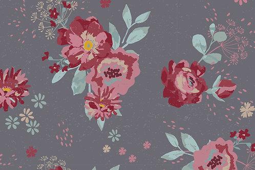Jersey Fleurs romantiques - Gris