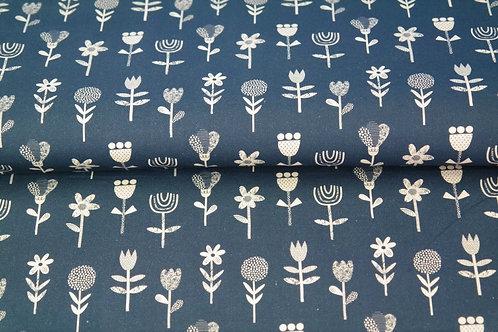 Popeline coton grandes fleurs - Bleu Marine