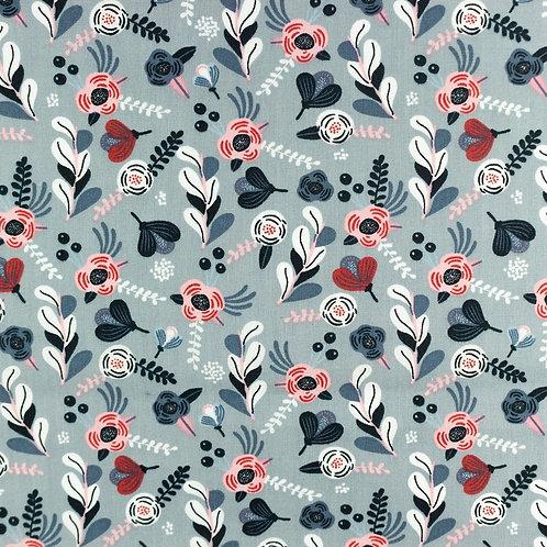 Popeline coton imprimé petites fleurs - vieux bleu