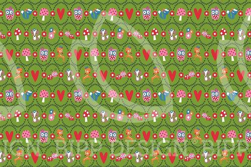 Jersey animaux de la forêt - champignons - Vert