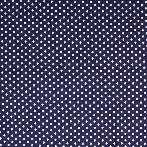 Double Gaze coton pois - Bleu marine