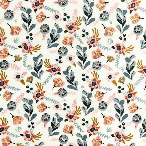 Popeline coton imprimé petites fleurs - Blanc