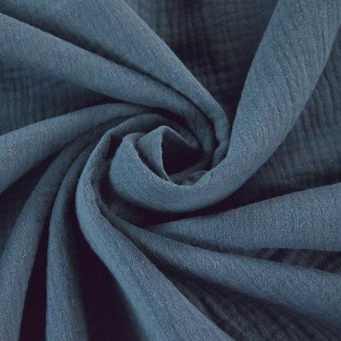 Double Gaze coton  - Bleu Acier