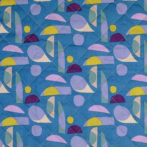 Tissu coton matelassé formes géométriques - Bleu