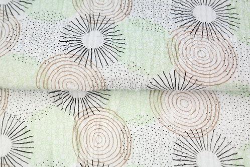 Double Gaze coton grandes fleurs - Vert