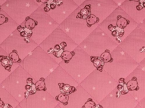 Double Gaze de coton matelassée ours - Rose