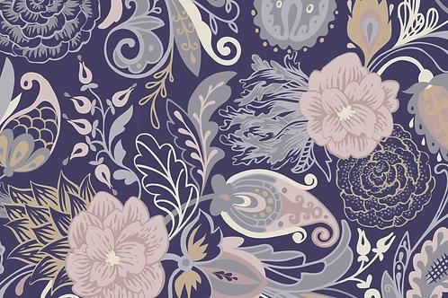 Jersey DIGITAL -  Grandes fleurs -Bleu marine