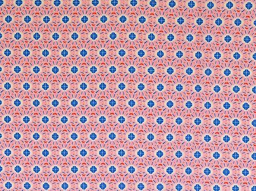 Viscose fleurs rondes - rose / bleu