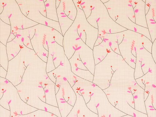 Double Gaze coton branches fleurs - Rose
