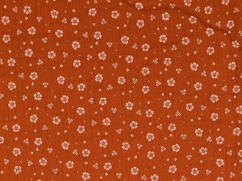 Double Gaze coton petites fleurs - Rouille