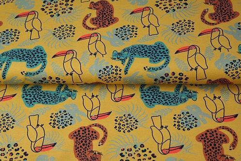 Double Gaze coton pélican Moutarde