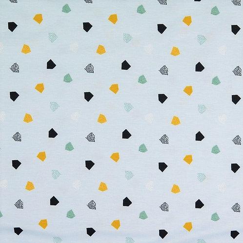 Jersey GOTS - Coton BIO -polygone -Bleu