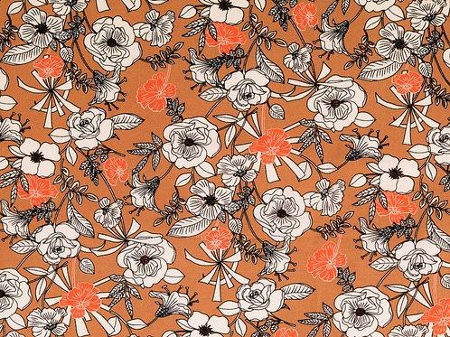 Viscose fleurs - marron