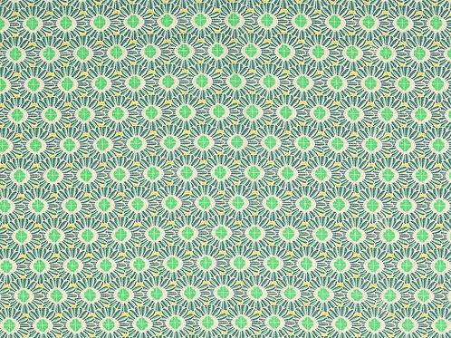 Viscose fleurs rondes - vert / bleu