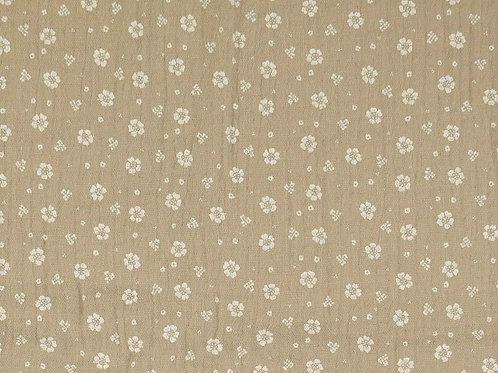 Double Gaze coton petites fleurs - Beige