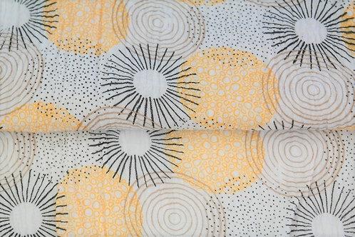 Double Gaze coton grandes fleurs - Jaune